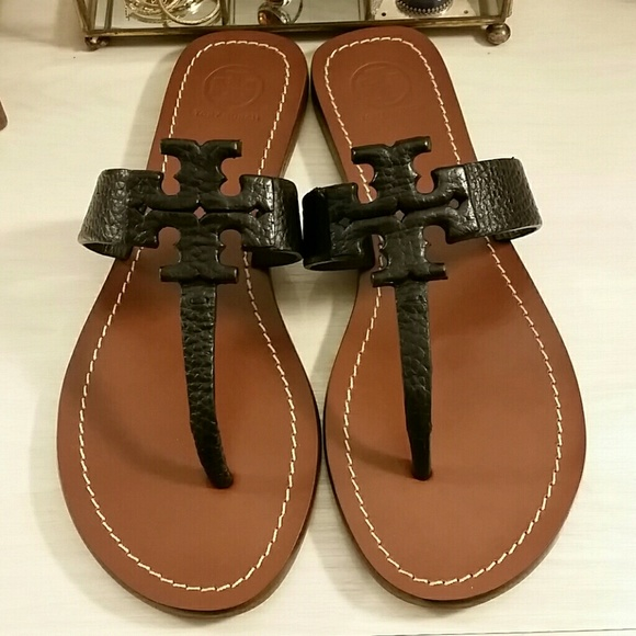 a8452fd4a6978  NEW Tory Burch Black Leather Moore Sandals